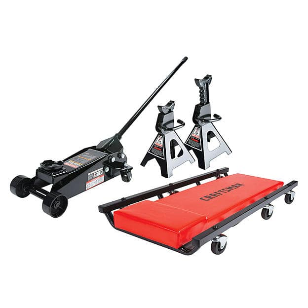 Craftsman 3 ton Floor Jack with Jack Stands and Creeper Set - $109