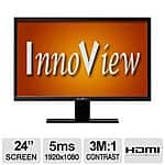 "HKC Innoview I24LMH1 24"" LED Monitor - $80 / $70 / $63 AR / coupon / rewards - 1920x1080 HDMI+VGA 3M:1"