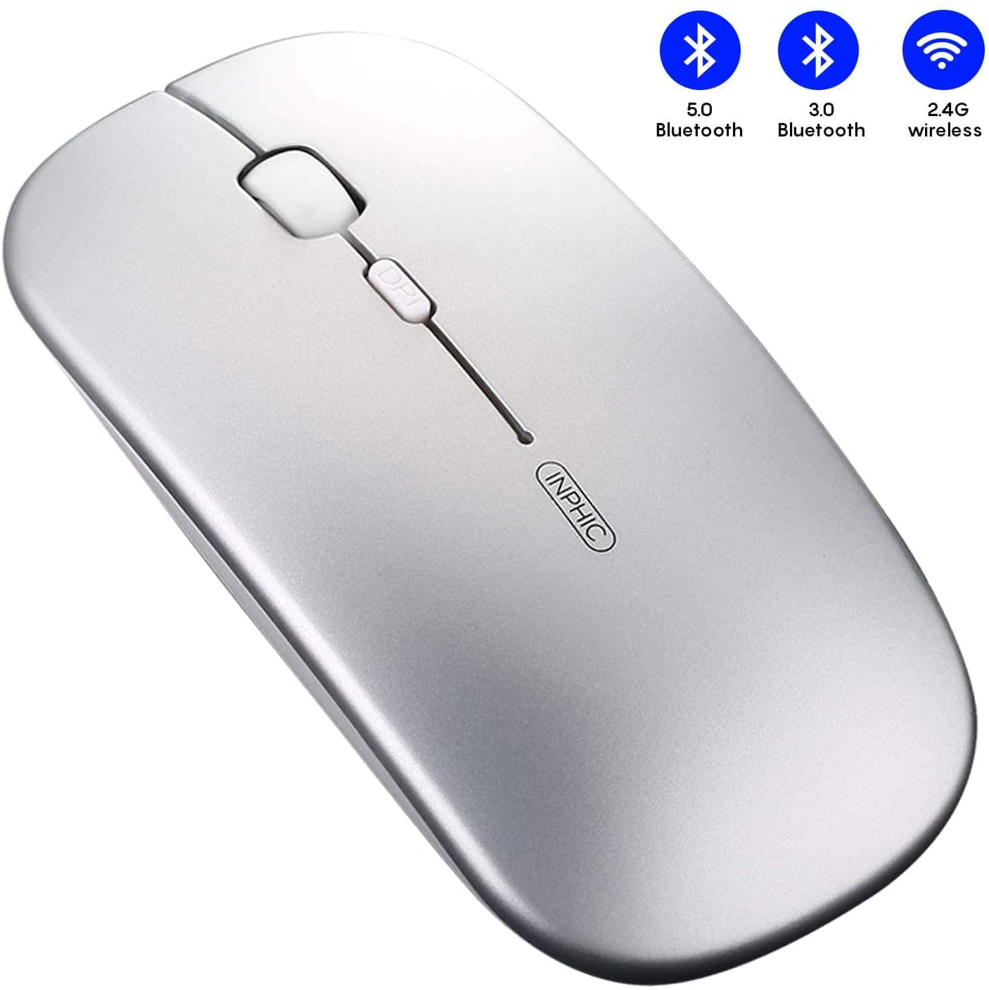 Tri-Mode Slim Silent Rechargeable Bluetooth Wireless Mouse (Bluetooth 5.0/3.0+ 2.4G Receiver) $8.63
