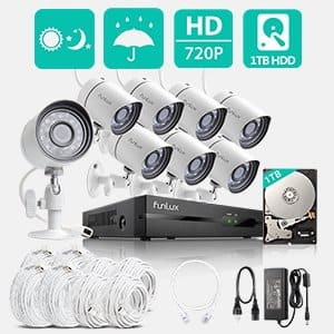 Funlux 8 Channel Full HD HDMI NVR Simplified PoE 8 720p Outdoor Indoor Security Camera System 1TB Hard Drive $179.99