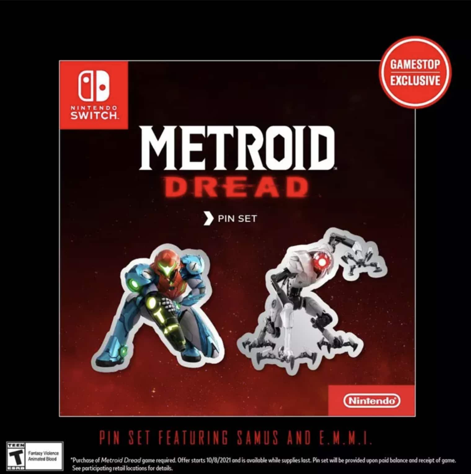 Pre-order and purchase Metroid Dread at GameStop and receive an exclusive Pin Set $59.99