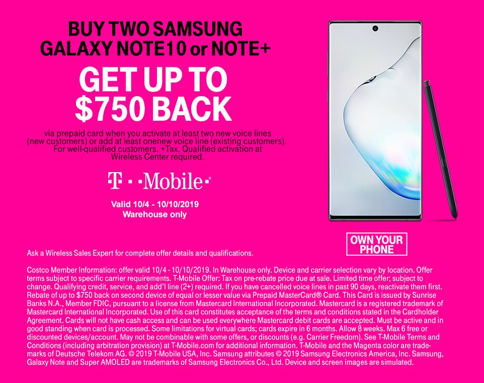 Costco T mobile Samsung Galaxy NOTE 10 BOGO 750 off after rebate card. Any t-mobile plan new line required.