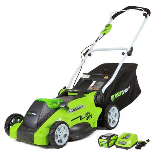 Greenworks 25322 40V G-MAX Cordless Lithium-Ion 16 in. 2-in-1 Lawn Mower + Greenworks 24312 40V G-MAX Cordless Lithium-Ion Blower 217.48=tax/fs
