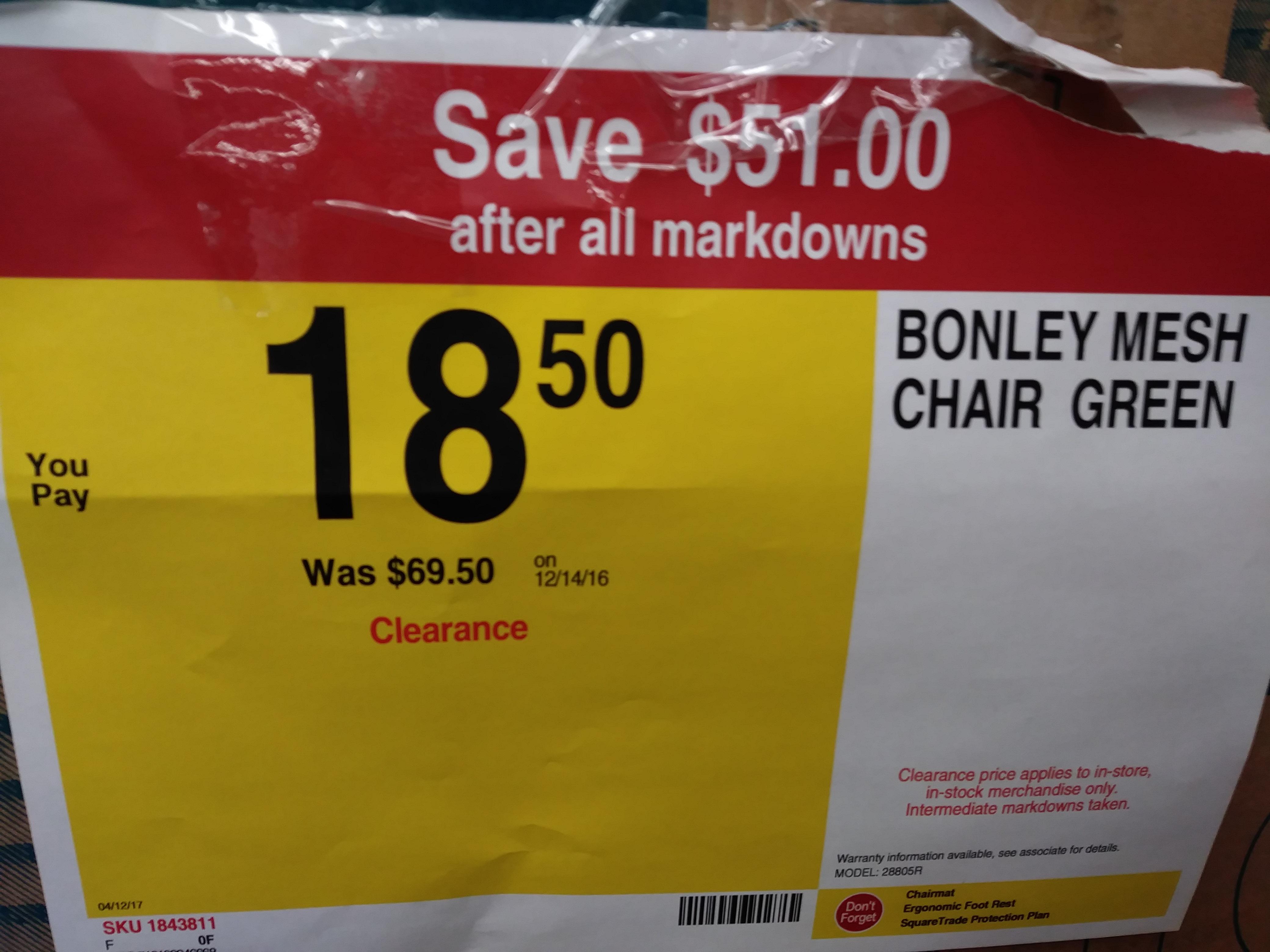 Staples® Bonley Mesh Chair, Green - $18.50 (YMMV)