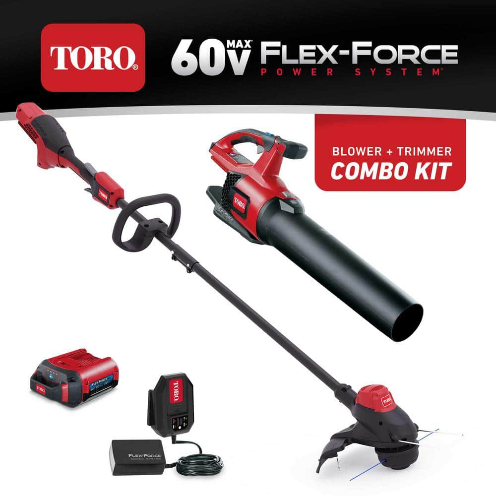 Toro 60-Volt Max Lithium-Ion Cordless String Trimmer and Leaf Blower Combo Kit (2-Tool), 2.0 Ah Battery and Charger Included-51881 - The Home Depot $199