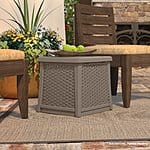 Suncast ELEMENTS Side Table with Storage, Dark Taupe - $35 w/Free store pick up