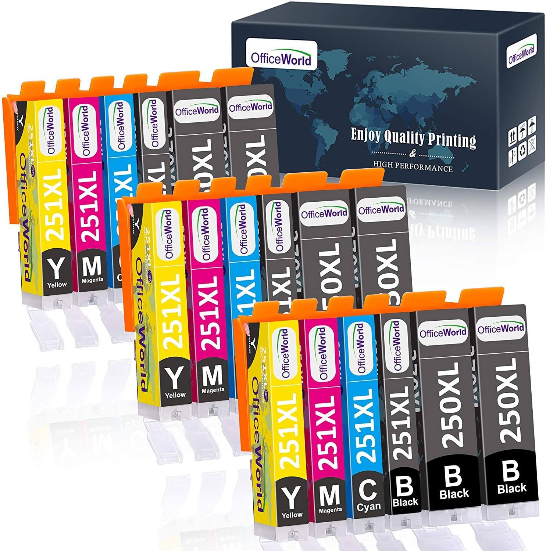 OfficeWorld Compatible 250 251 Ink Cartridge Replacement for Canon 250XL 251XL PGI-250XL CLI-251XL for Canon PIXMA MX922 MG7520 MG5520 MG5420 MG7120 Printer 18pcs - $8.99