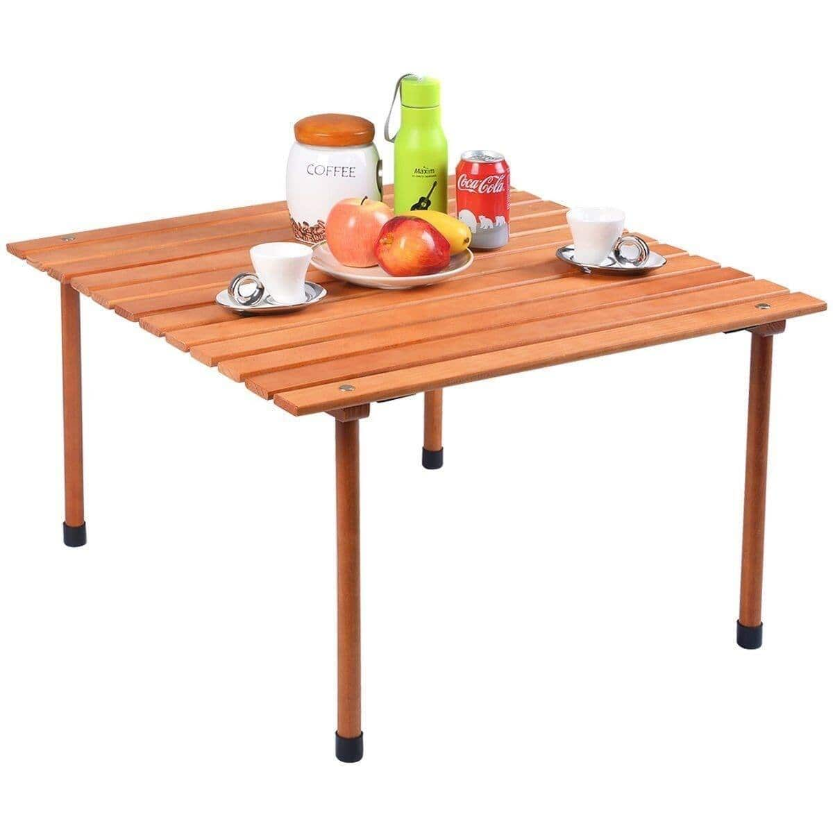 Costway Folding Wooden Camping Roll Up Table with Carrying Bag for Picnics and Beach - $44.95 + Free Shipping
