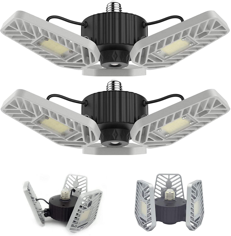 LZHOME 2-PACK LED Garage Lights, 6500Lumens E26/E27 Adjustable Trilights Garage Ceiling Light ,60W LED Garage Light, CRI>80, 5000k Nature light, with Adjustable Panels $26.19 + FS