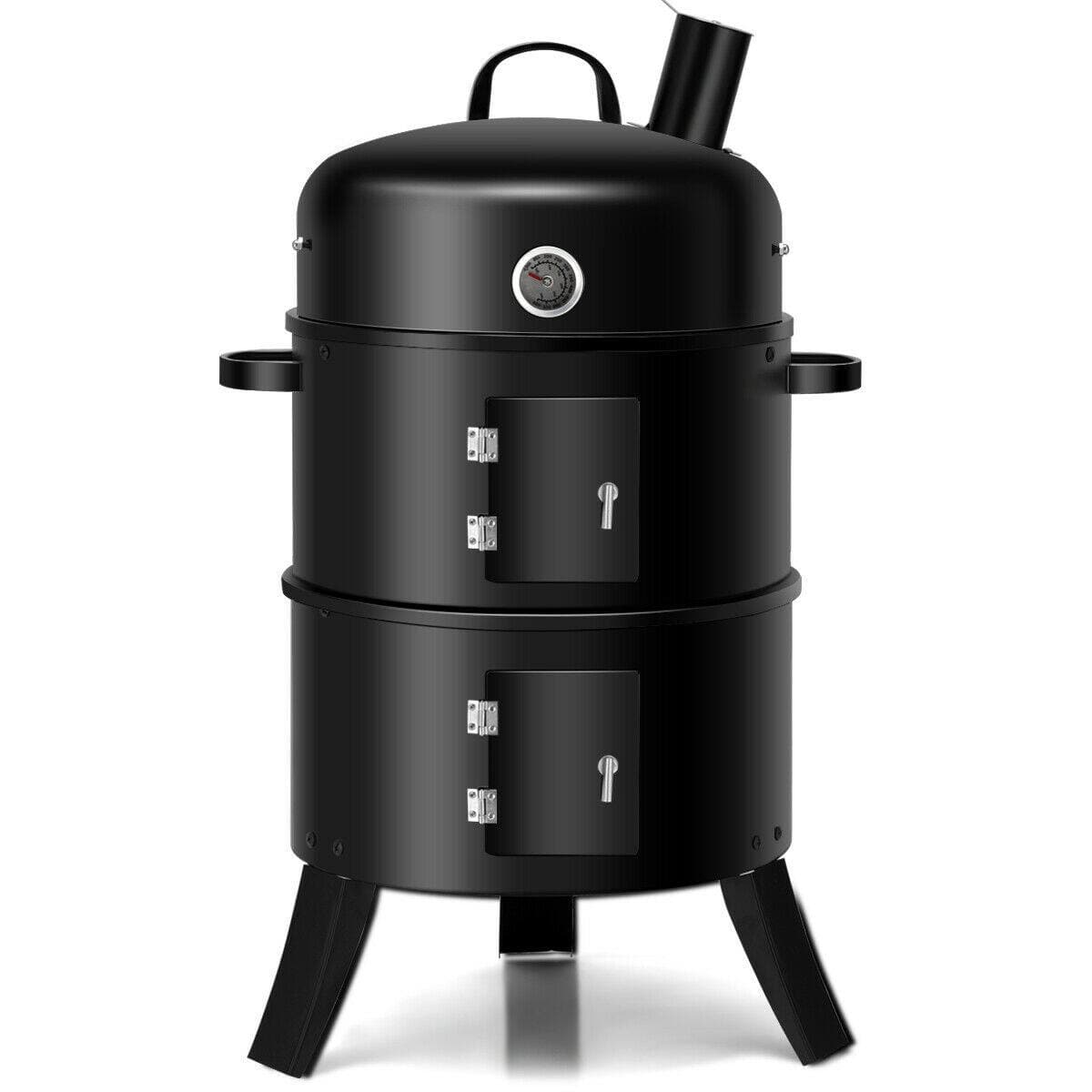 Costway 3-in-1 Portable Round Charcoal Smoker BBQ Grill Built-in Thermometer - $66.95 + Free Shipping