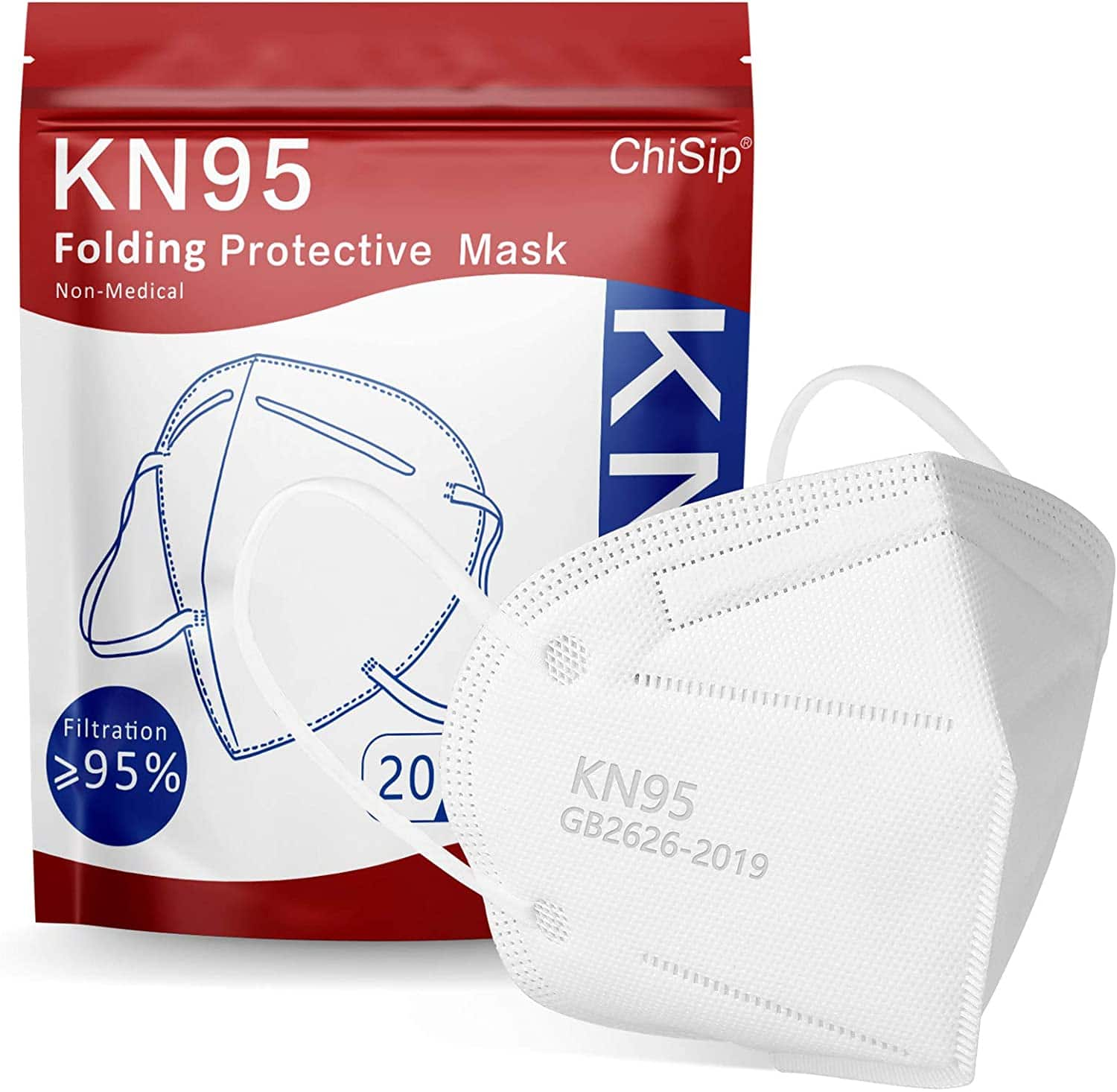 20-Pack Chisip KN95 Face Masks Filter Efficiency ≥95% White Face Mask for Men & Women $7.55 + Free Shipping