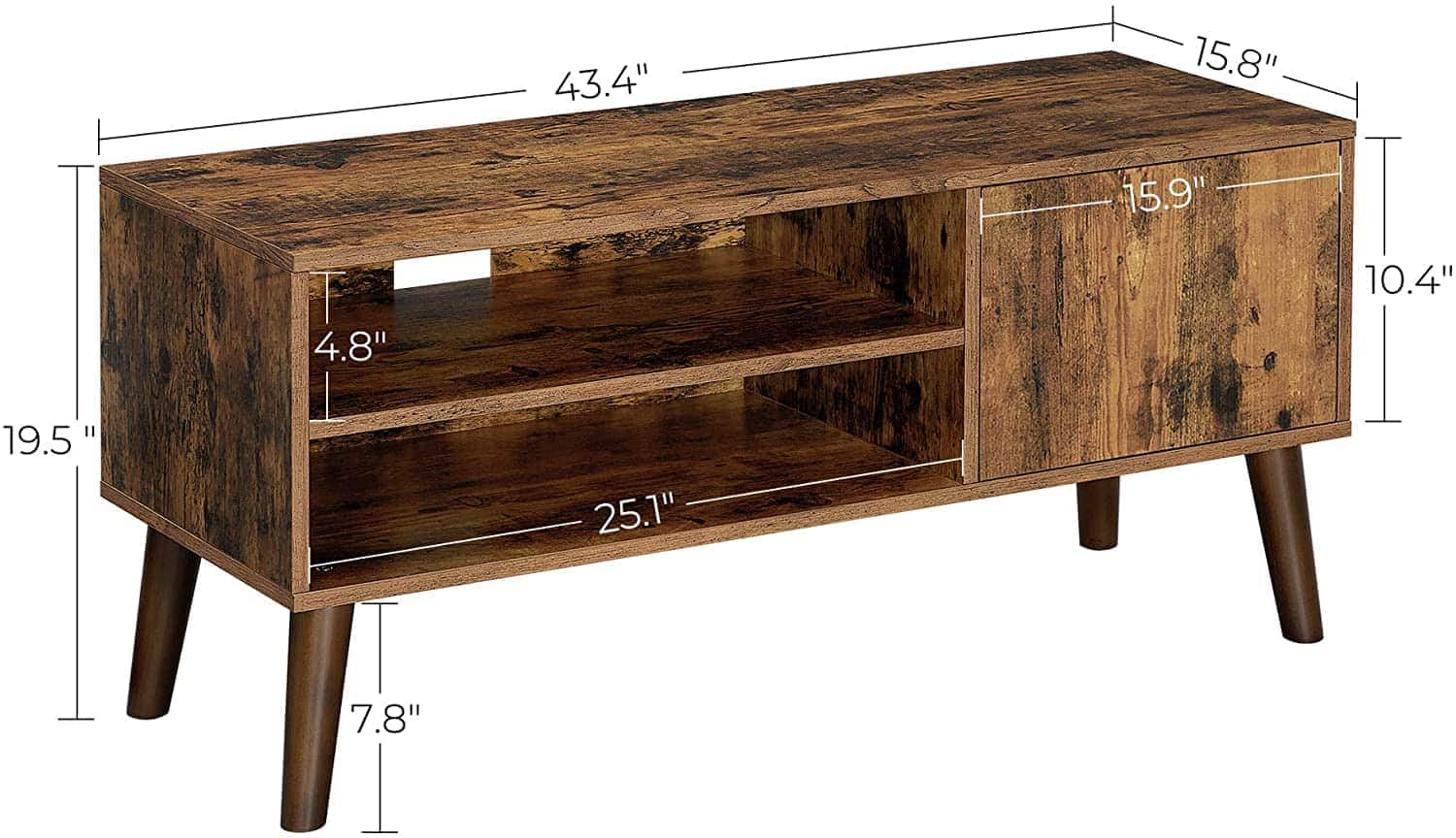 VASAGLE TV Stand for TVs up to 43-Inch (Rustic Brown, Greige, Walnut ) for $69.99 + Free Shipping