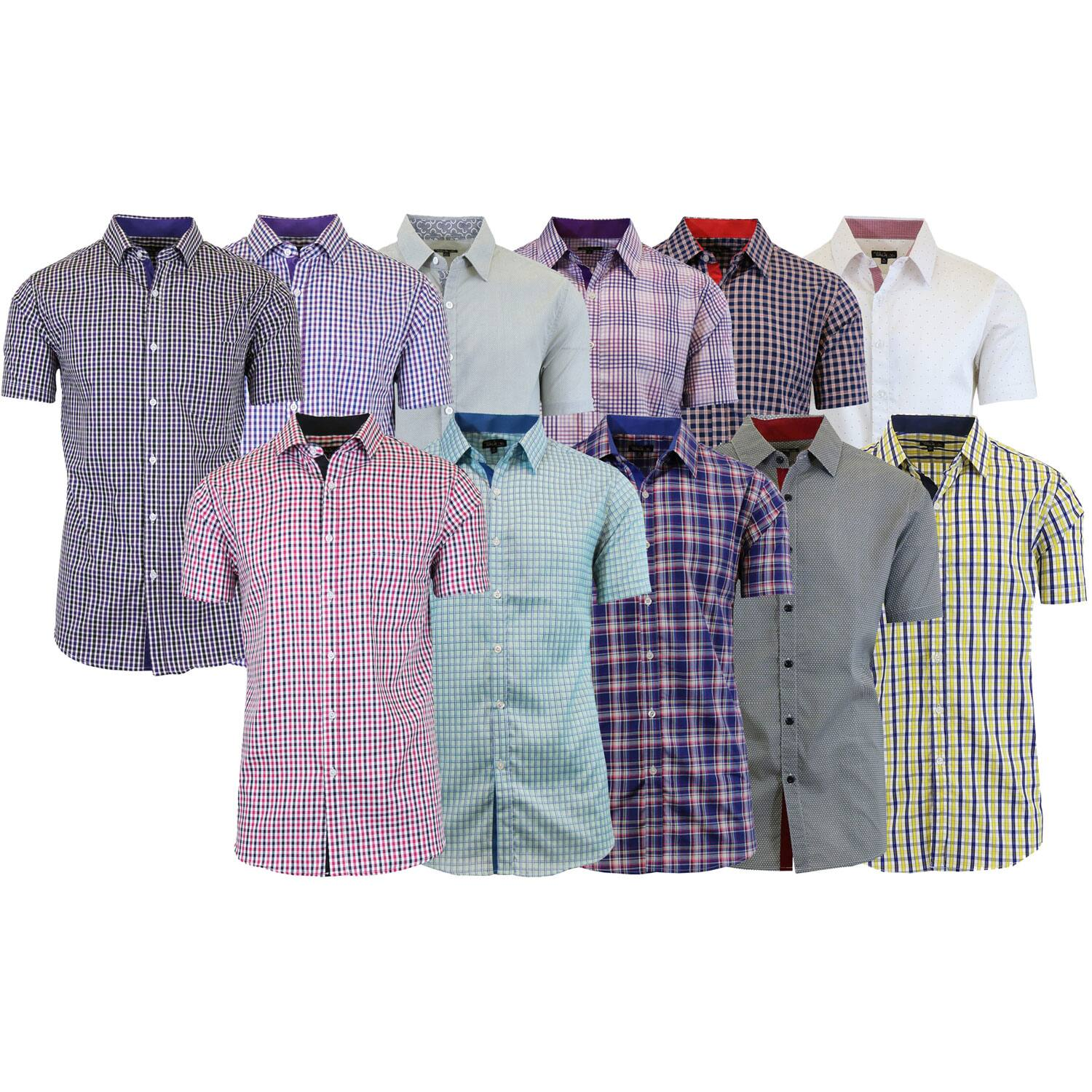 Men's 4 Pack Assorted Short Sleeve Patterned Dress Shirts 100% Cotton - $21.69 + Free Shipping