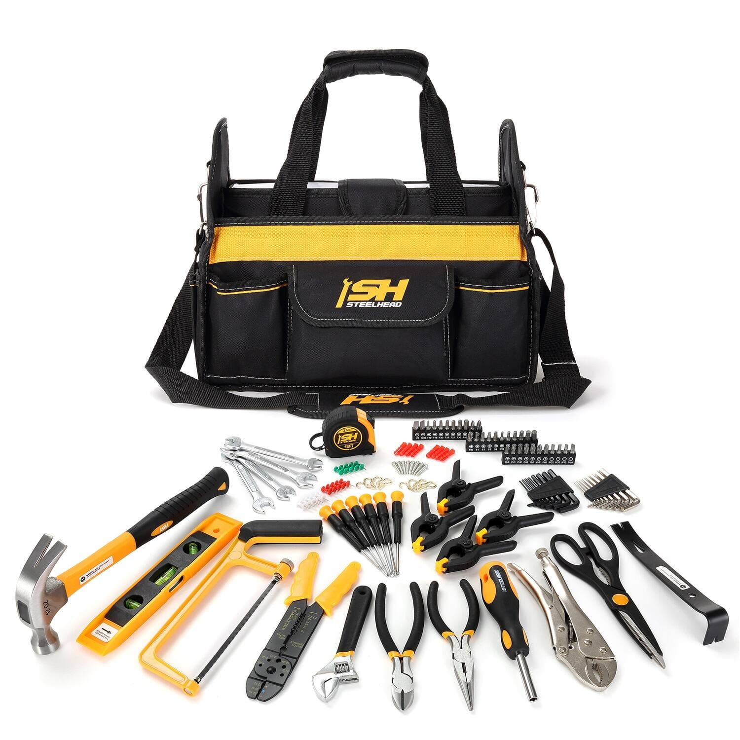 """STEELHEAD 117-Piece Tool Set, Screwdriver Handle, 33 Bits, Screwdrivers, Pliers, Tape Measure, 9"""" Level, Hammer, Prybar, Wrenches, Scissors, Saw, Clamps, 14"""" Tool Tote -$49.99"""