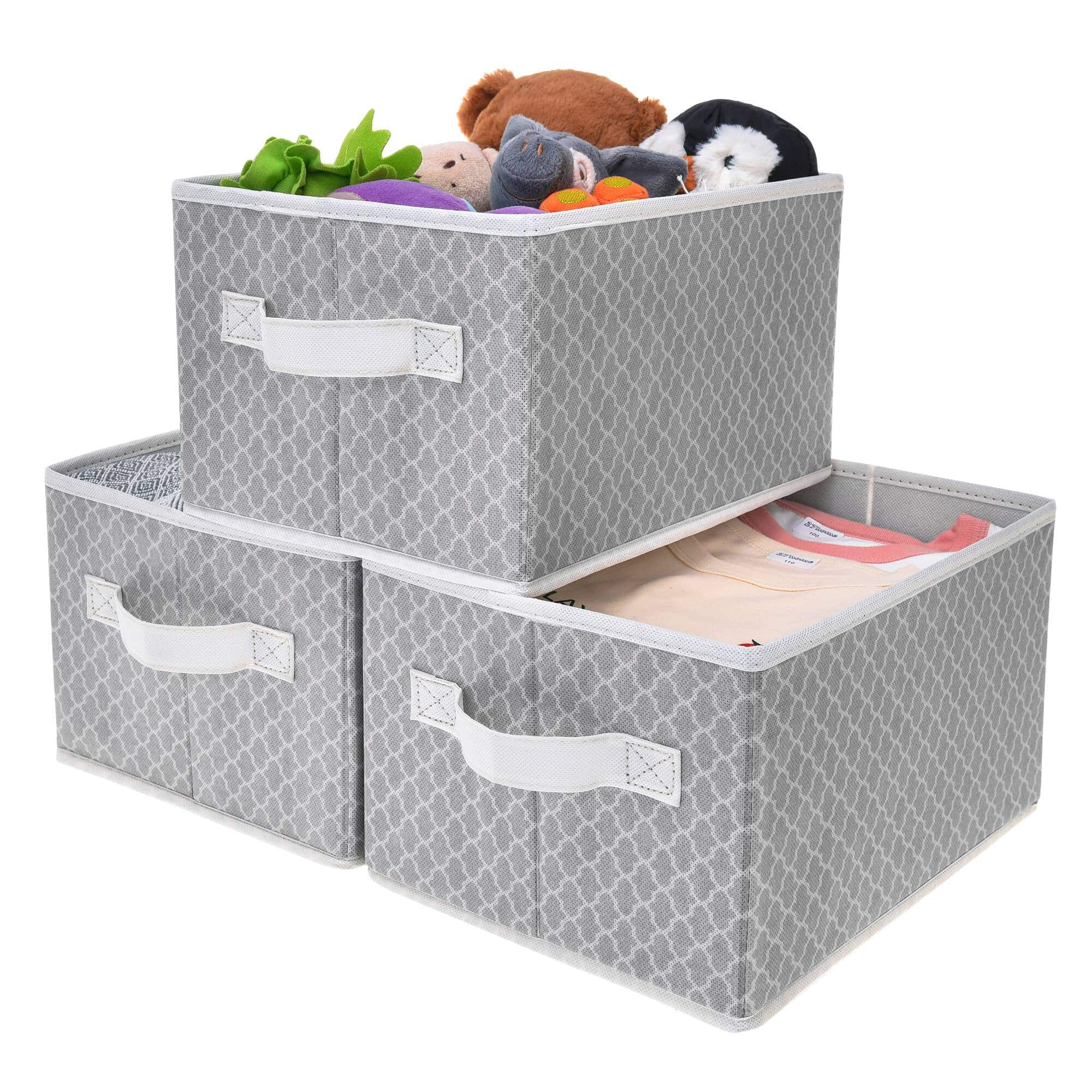 GRANNY SAYS  Kid's Fabric Storage Bin,Gray/Beige, 3-Pack, $12.59-15.59 + Free Shipping w/ Amazon Prime or Orders $25+