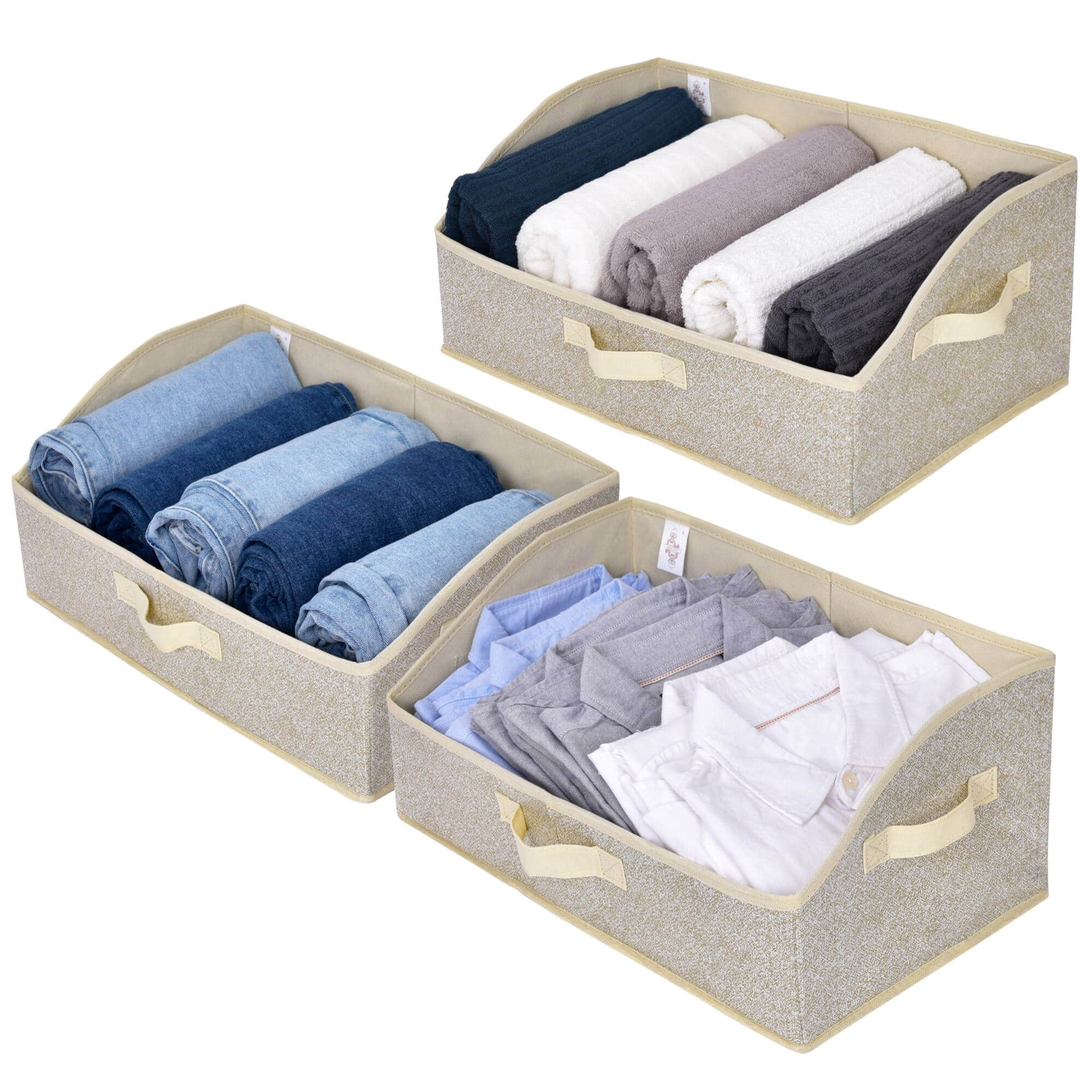 Trapezoid Storage Bins, Beige, 3-Pack, $15.39 + Free Shipping w/ Amazon Prime or Orders $25+