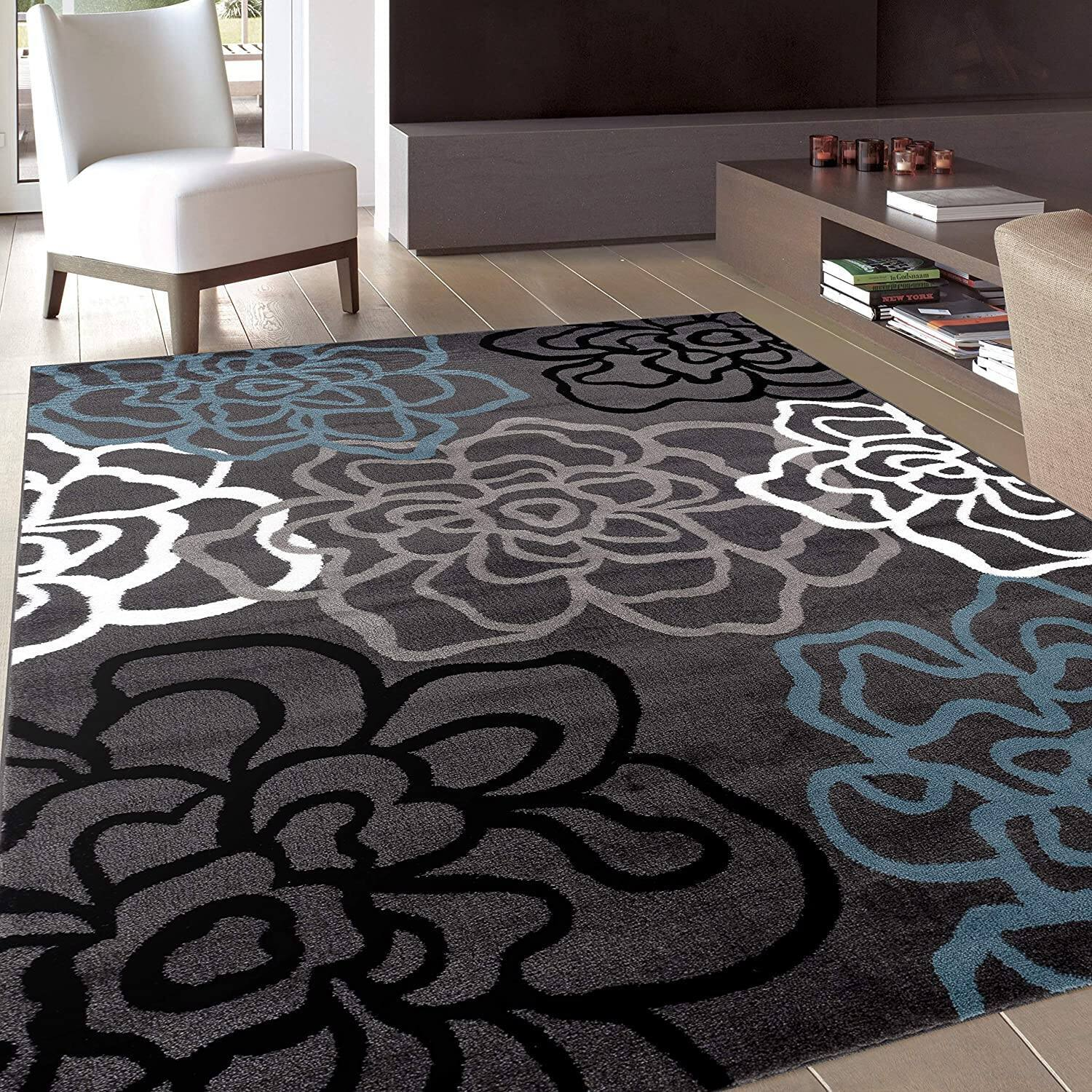 5x7 Modern Floral Gray Area Rug for $69.90 + Free Shipping