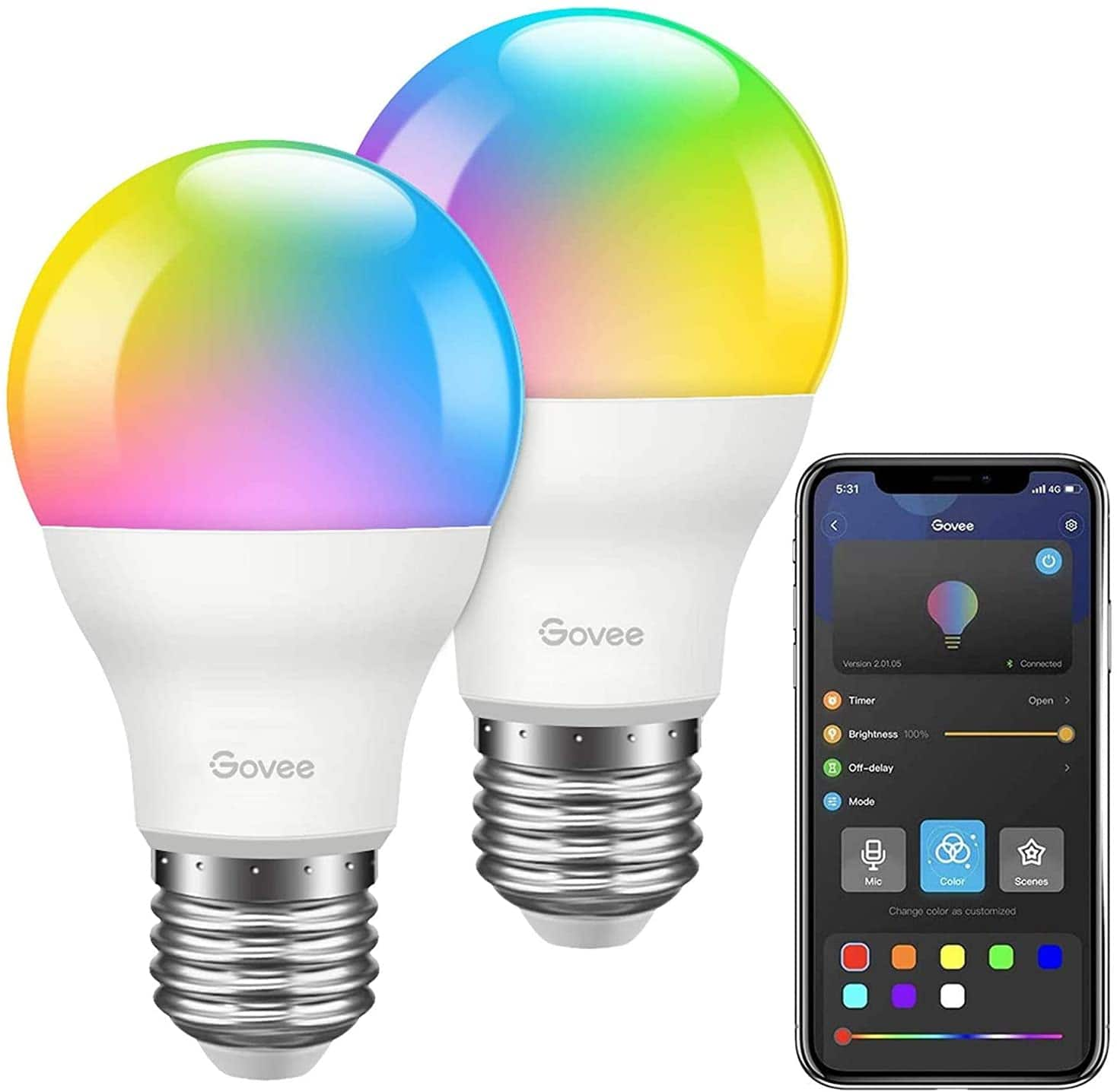 Govee RGB LED Dimmable Bulbs , APP Control, With Music Sync, A19 7W 60W Equivalent, Multi-color Decorative(2 Pack)- $11.99 + Free Shipping