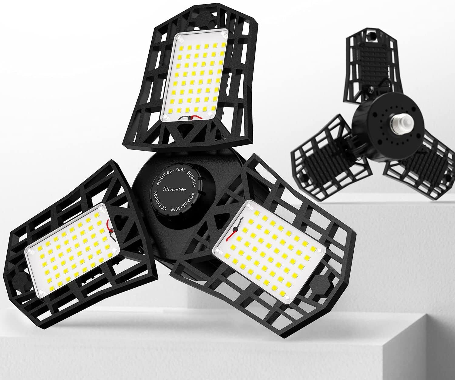 2-Pack LED Garage Light(60W 6000LM 6500K) w/ Multi-Position Panels for $19.49 + Free Shipping