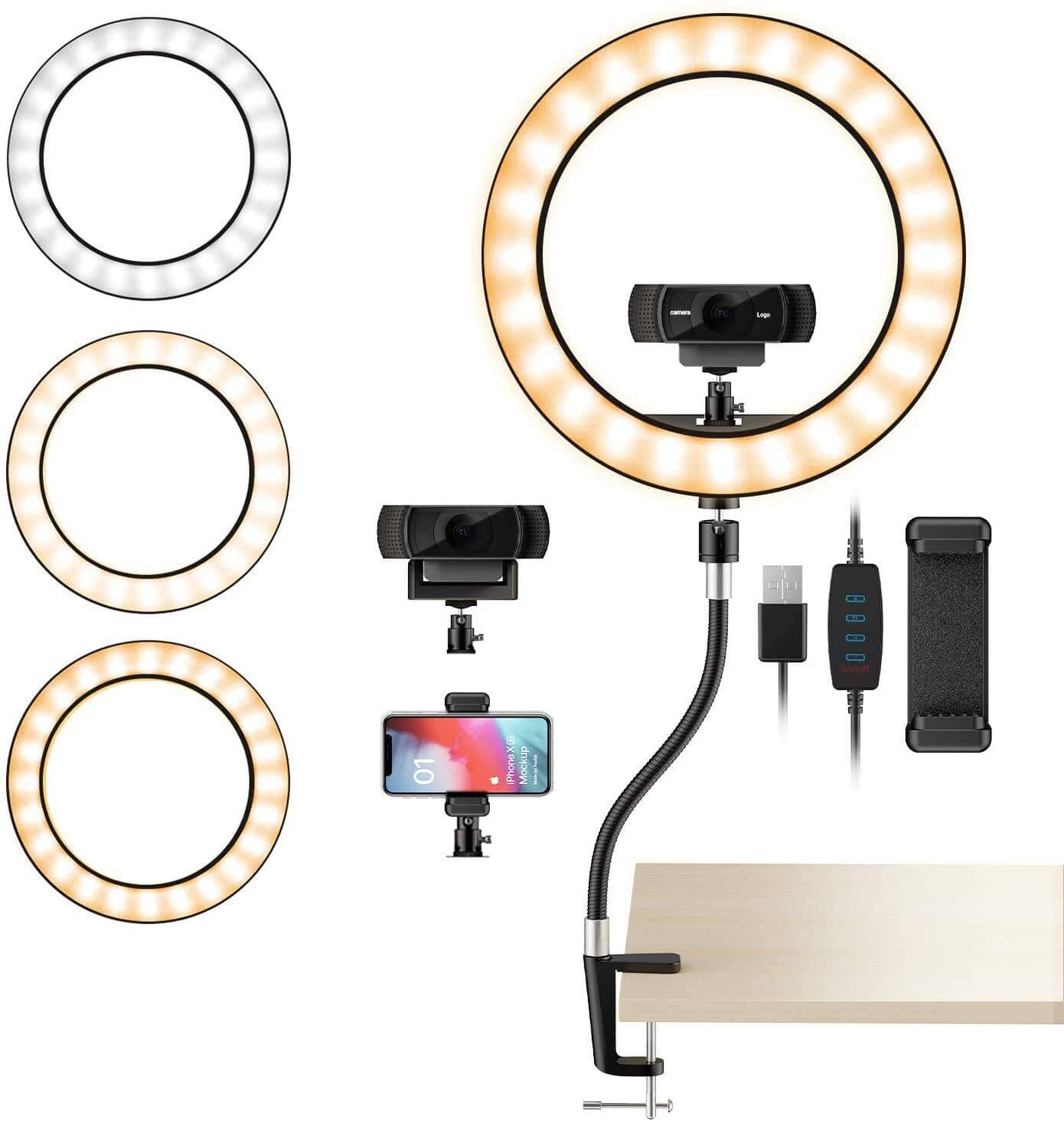 """Amada 10"""" Webcam Light Stand with 3-Light Mode for Live Stream, Make-up, Selfie only $10.34 + Free Shipping w/ Amazon Prime or Orders $25+"""