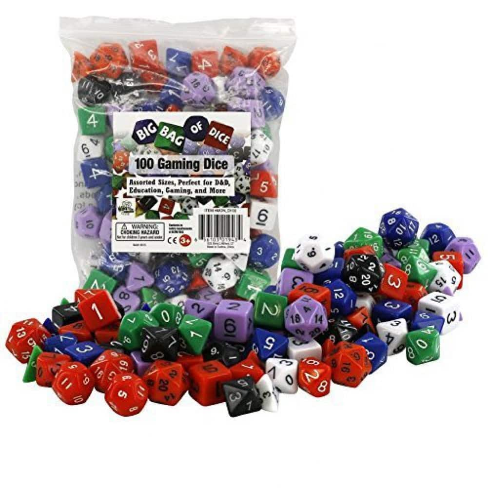 100 Pack Gaming Dice, Assorted Sizes - $7.47 + Free Shipping for Prime Members