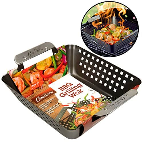 Camerons Grill Basket - Heavy Duty Non-Stick BBQ Barbecue Grilling Wok - $7.50 + Free Shipping for Prime Members