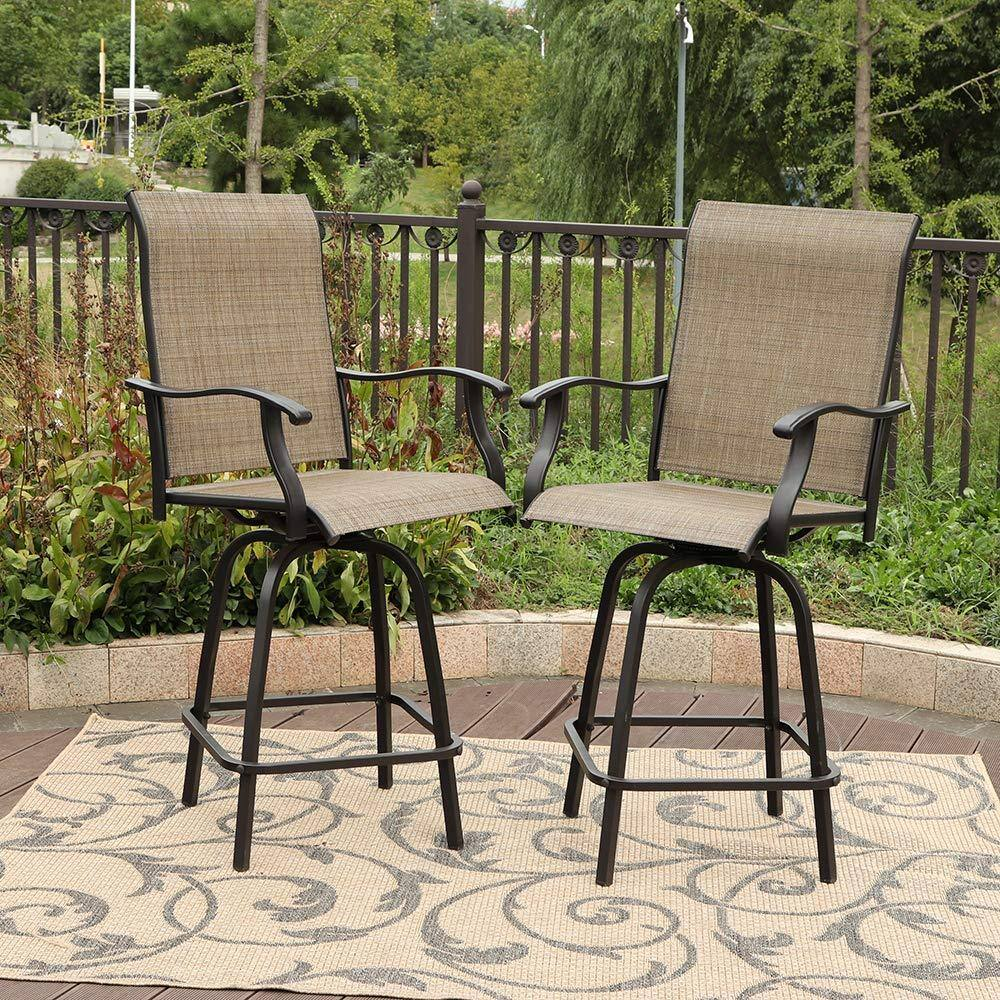 PHI VILLA 2-Pack Swivel Bar Stools Patio Furniture From $199.99 + Free Shipping