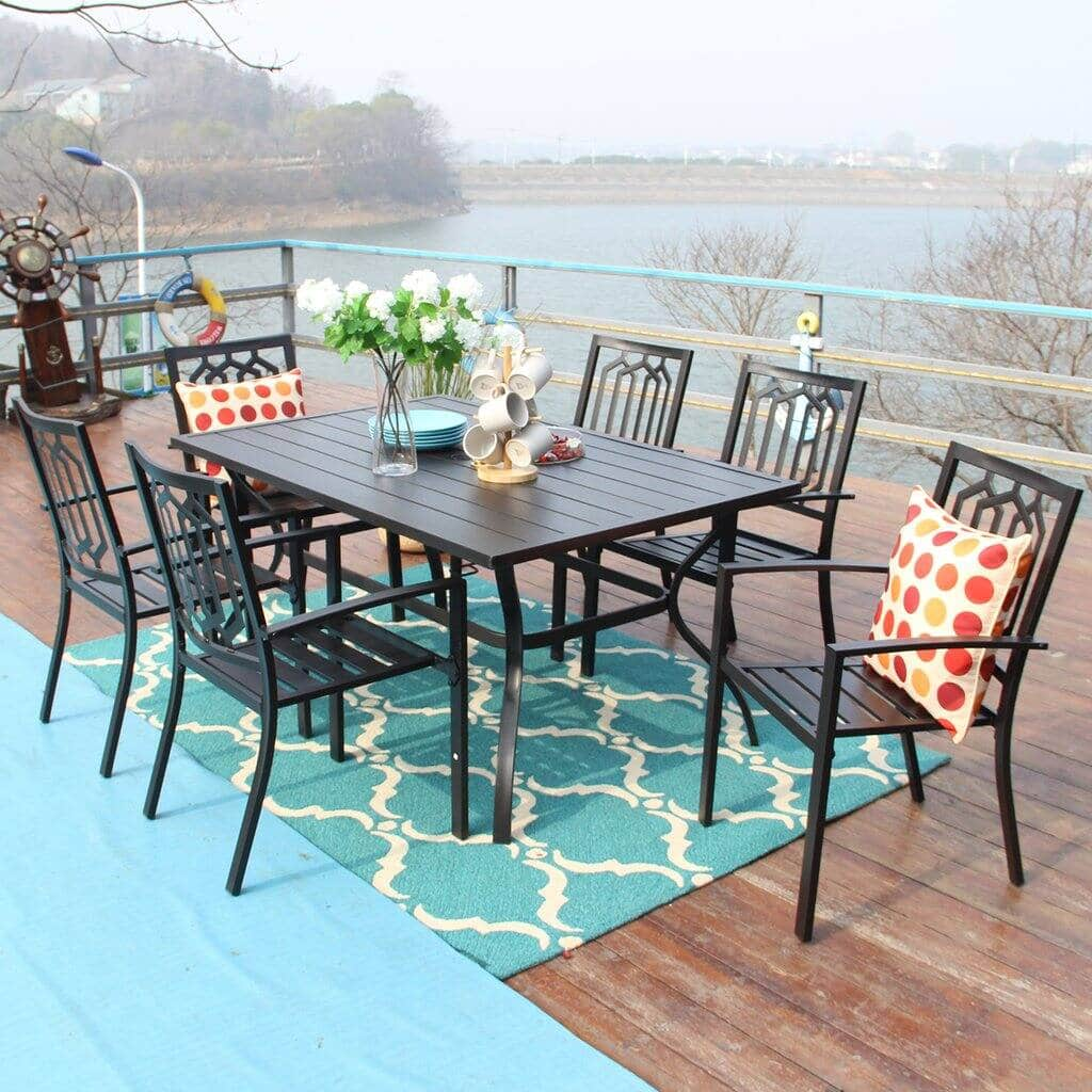 Phi Villa 7 Piece Metal Outdoor Patio Dining Sets From $612 + Free Shipping