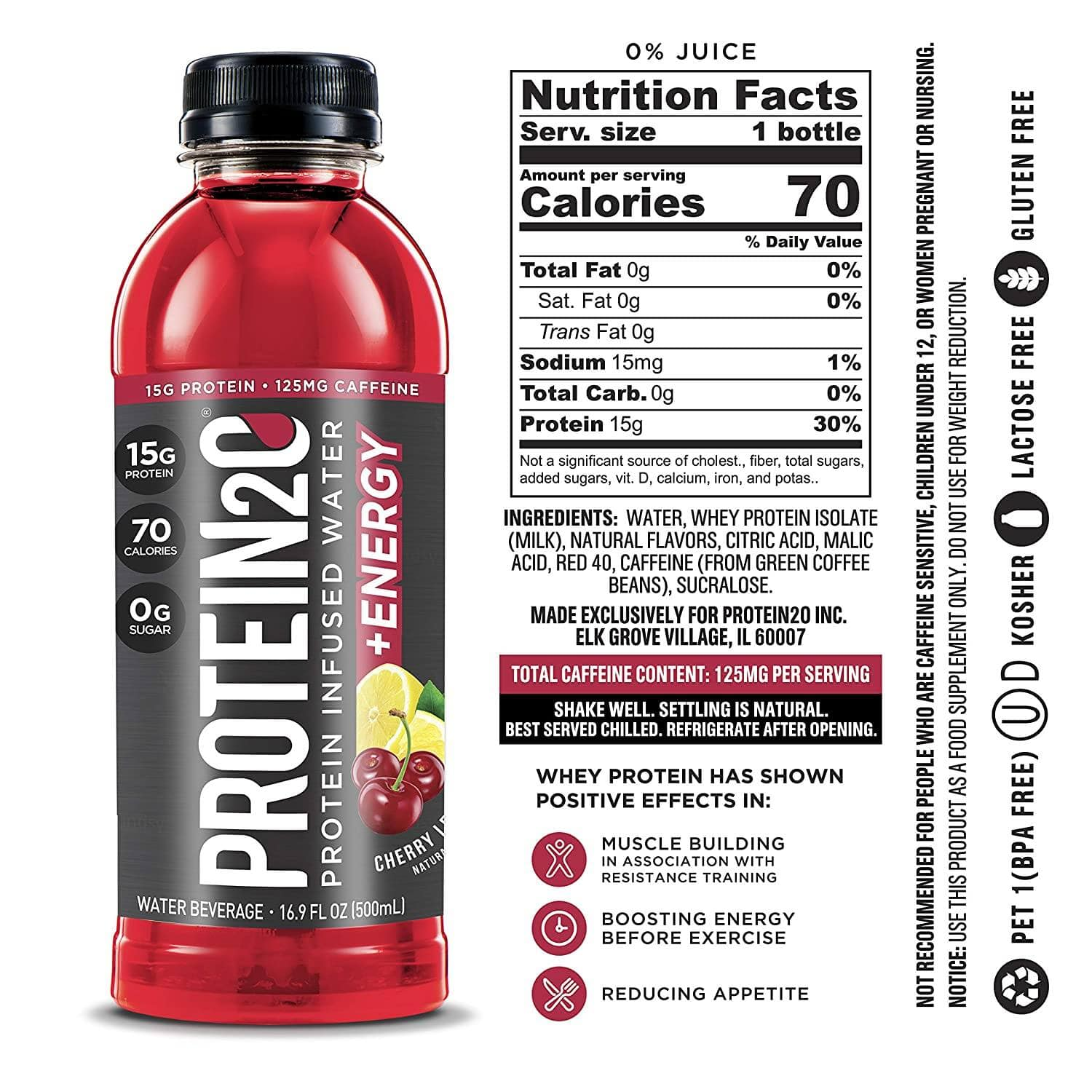 Protein2o + Energy, 15g Whey Protein Isolate, Cherry Lemonade (Pack of 12) $12.99