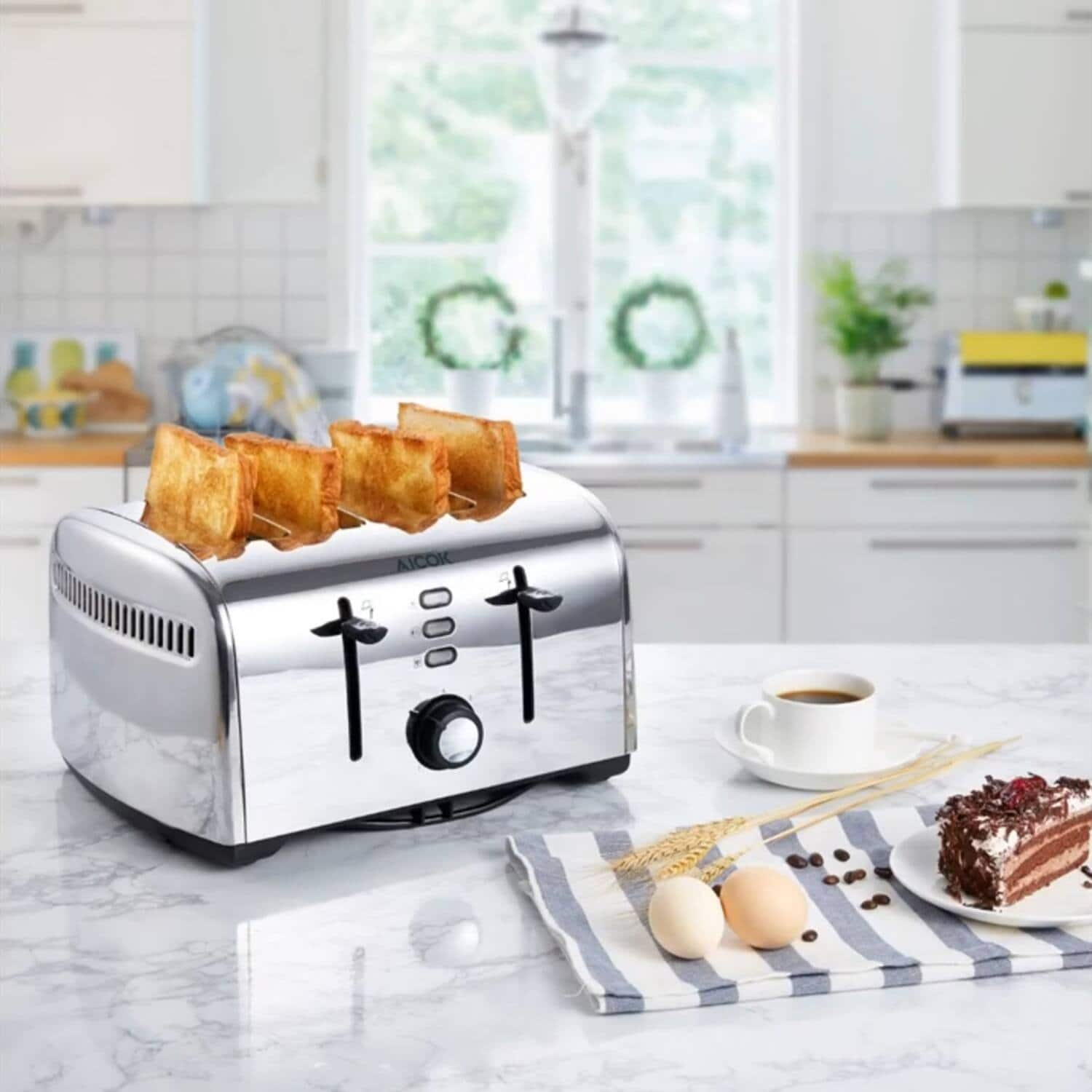 AICOK 4 Slice Stainless Steel Toaster with Wide Slots $17.98 Shipped