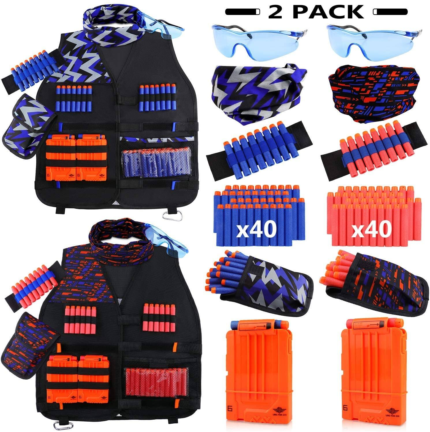 2-Pack Kids Tactical Vest Kit (Compatible with Nerf Guns N-Strike Elite Series) $17.99 + Free Shipping