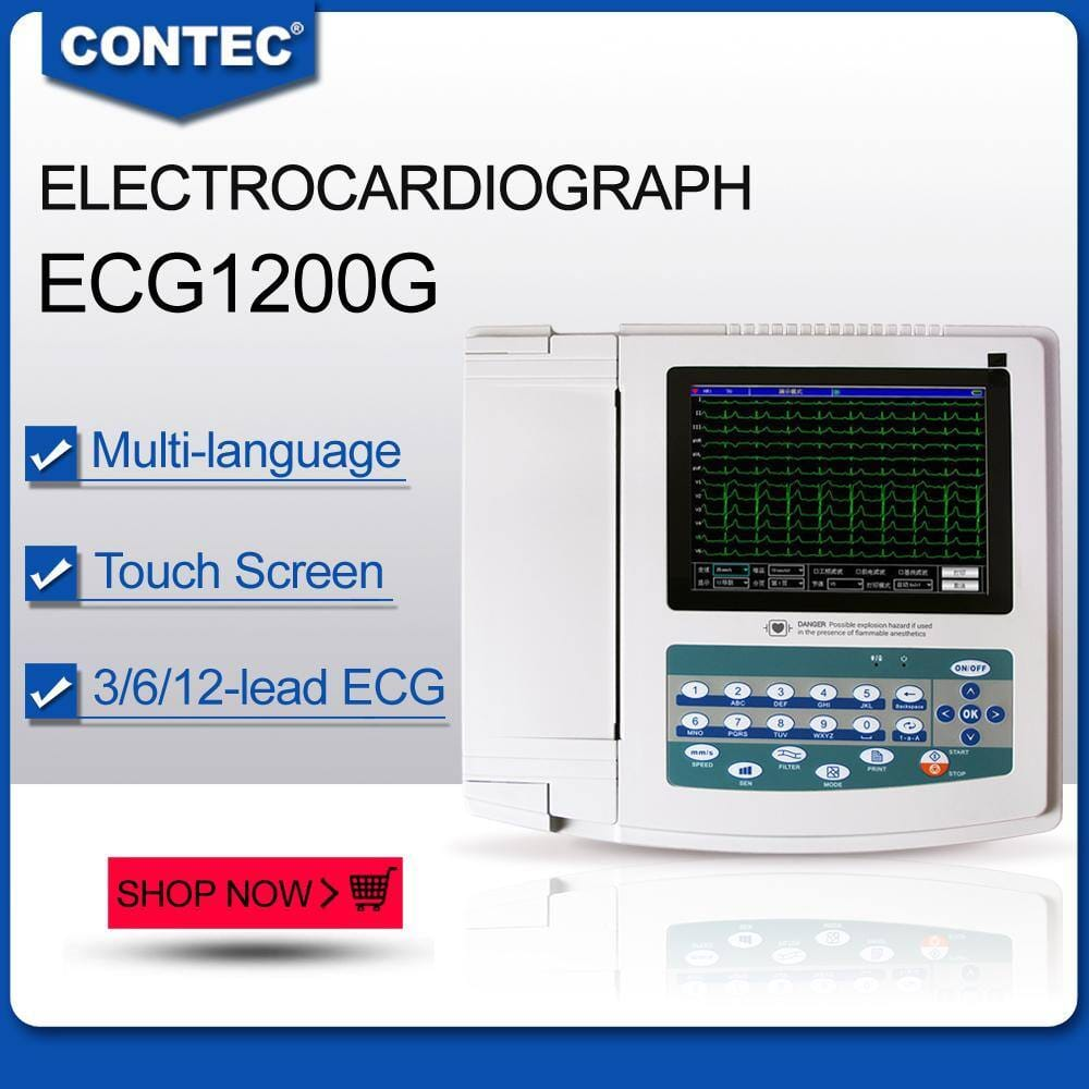 CONTEC ECG1200G Digital 12 channel/lead EKG+PC Sync software, Electrocardiograph Touch Screen $566 + Free Shipping