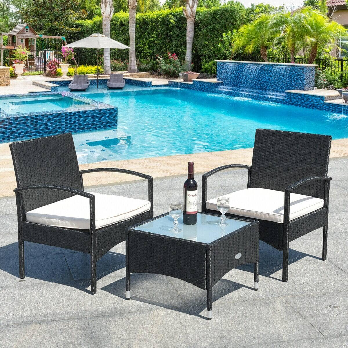 3 Pcs Patio Wicker Rattan Furniture Set with White Cushions $120.95 + Free Shipping