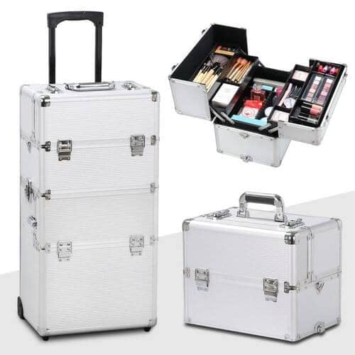 Yaheetech 3 in 1 Professional Aluminum Rolling Makeup Trolley, Silver $71.19 + Free Shipping