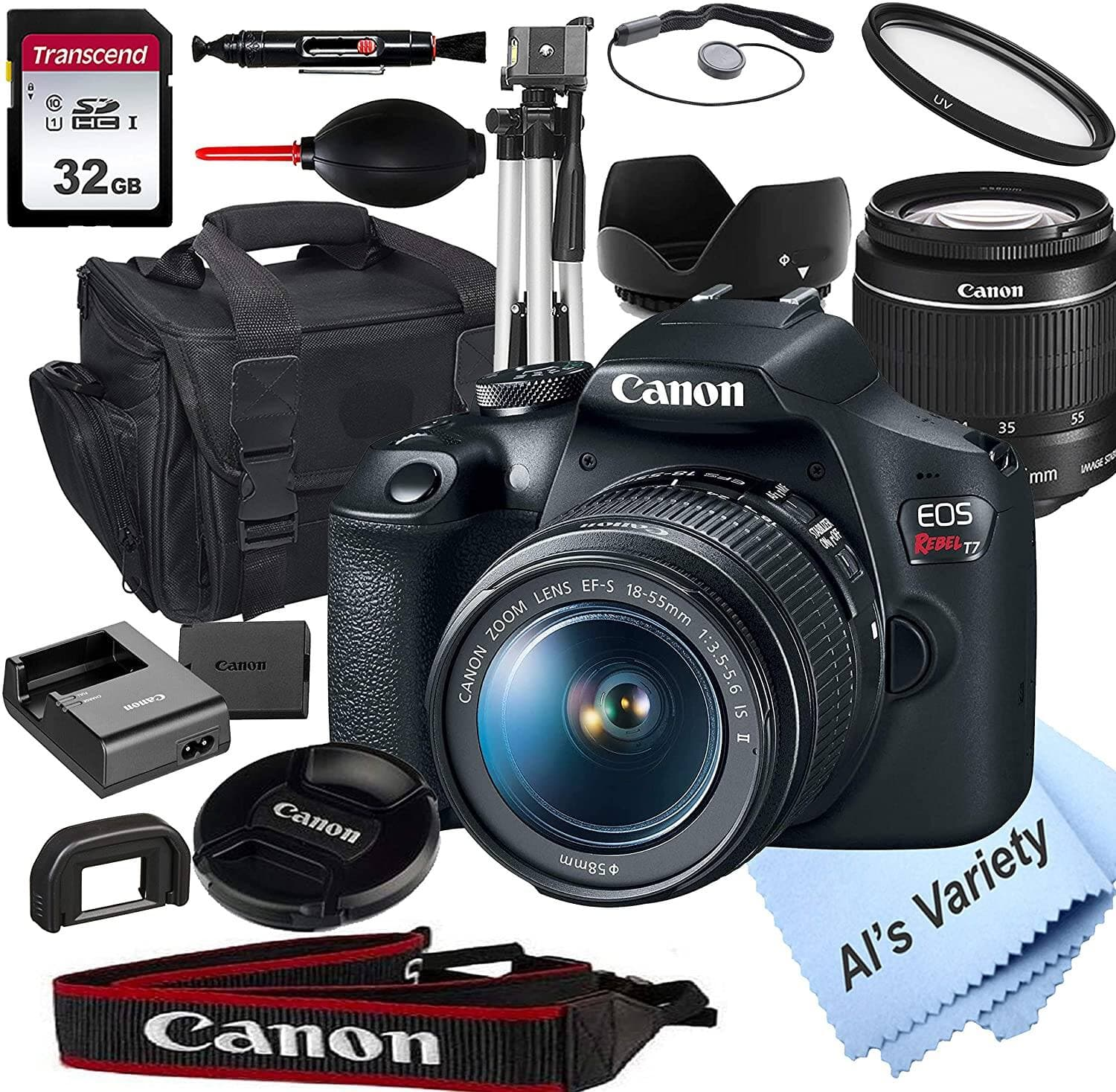 Canon EOS Rebel T7 DSLR Camera with 18-55mm f/3.5-5.6 is Zoom Lens + 32GB Card, Tripod, Case, and More (18pc Bundle) $379 + Free Shipping