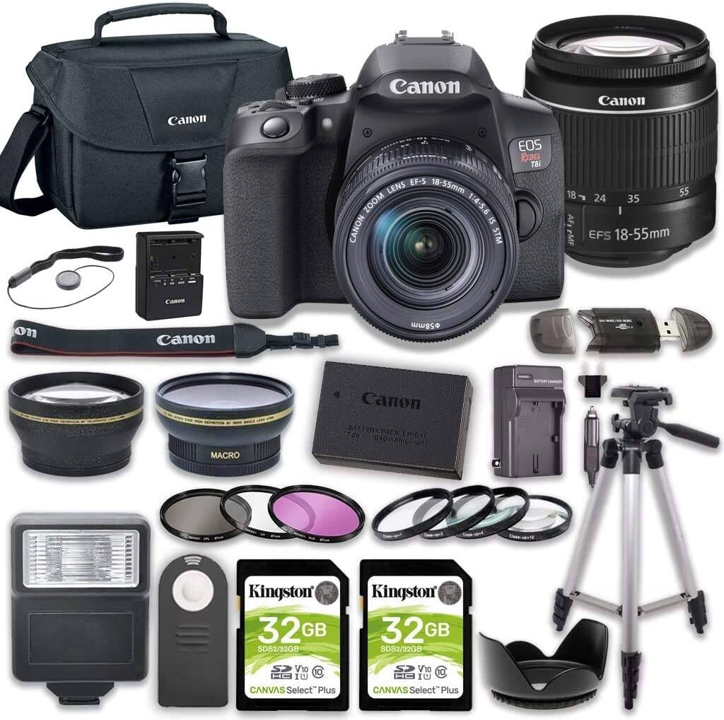 Canon EOS Rebel T8i DSLR Camera Bundle with 18-55mm STM Lens + 2pc Kingston 32GB Memory Cards + Accessory Kit $999 + Free Shipping
