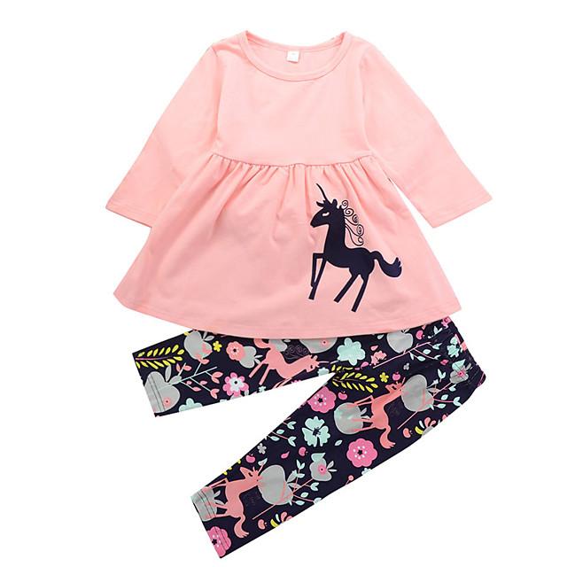 2pc Set Girls' Cotton Pink Unicorn Floral Print (Various Pattern) Long Sleeve Dress Kids'Outfit Set $11.99 + Free Shipping