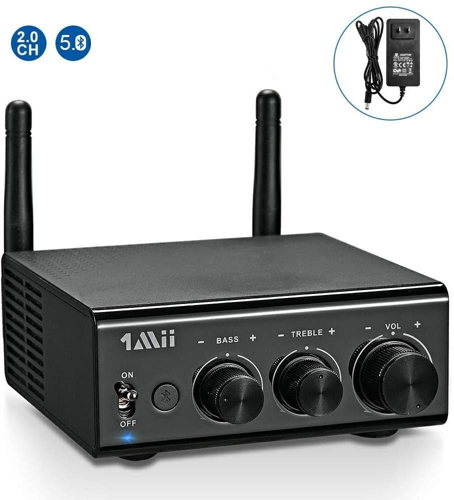 1Mii Bluetooth 5.0 Digital Amplifier Receiver HD RCA, AUX, Opt, Coaxial - $41.24 + Free Shipping