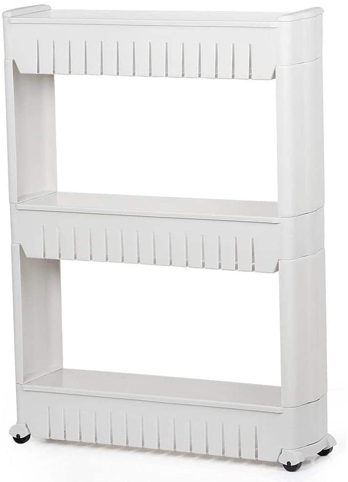 3 Tier Mobile Shelving Unit Slim Slide-Out Storage Tower $18.85 + Free shipping