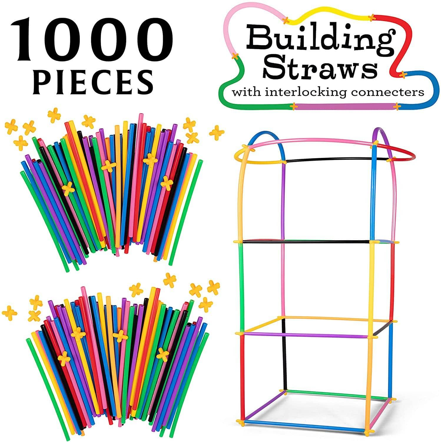 1000 pc Building Straws and Connectors Set $15 + Free Shipping