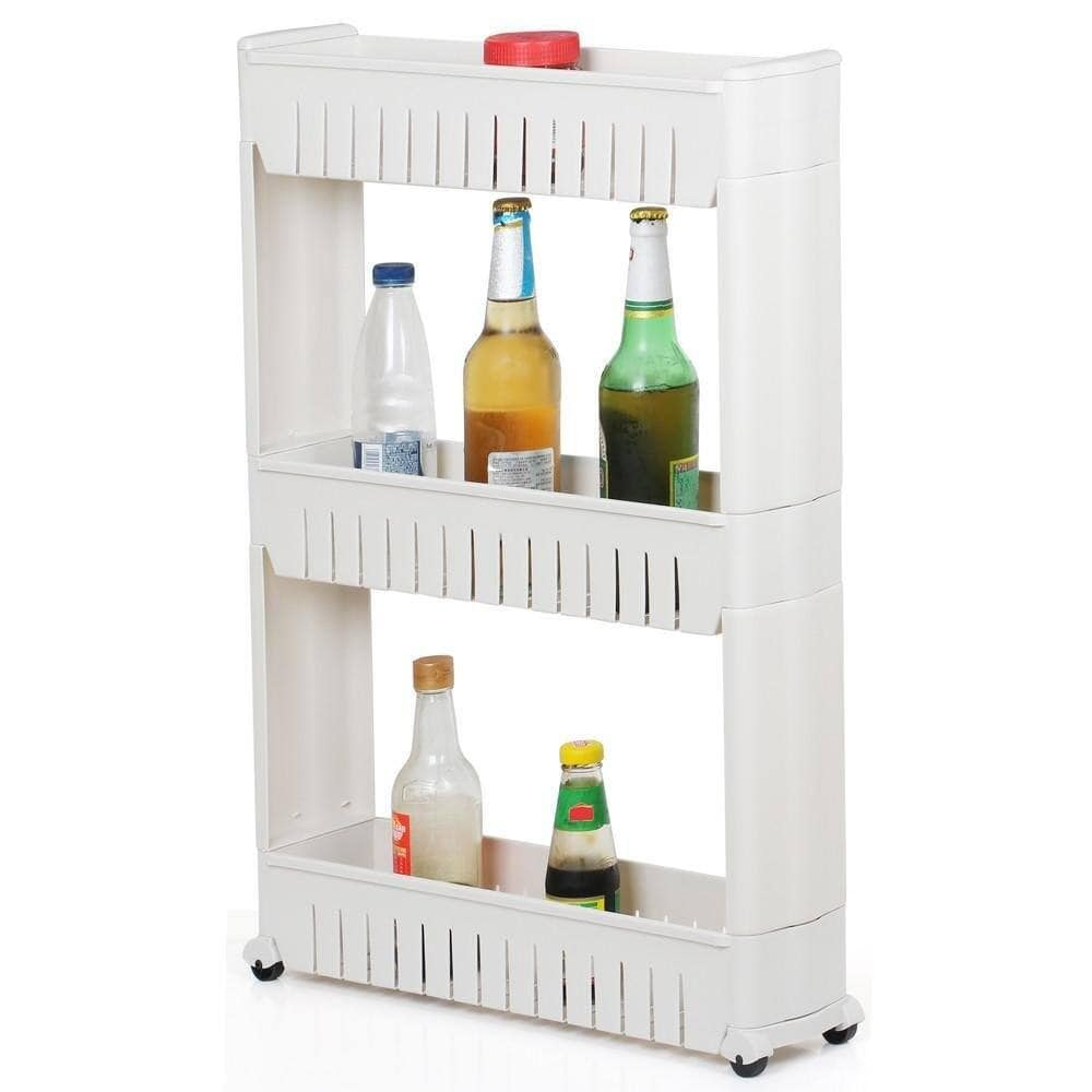 3 Tier Mobile Shelving Unit Slim Slide-Out Storage Tower $18.99 + Free Shipping