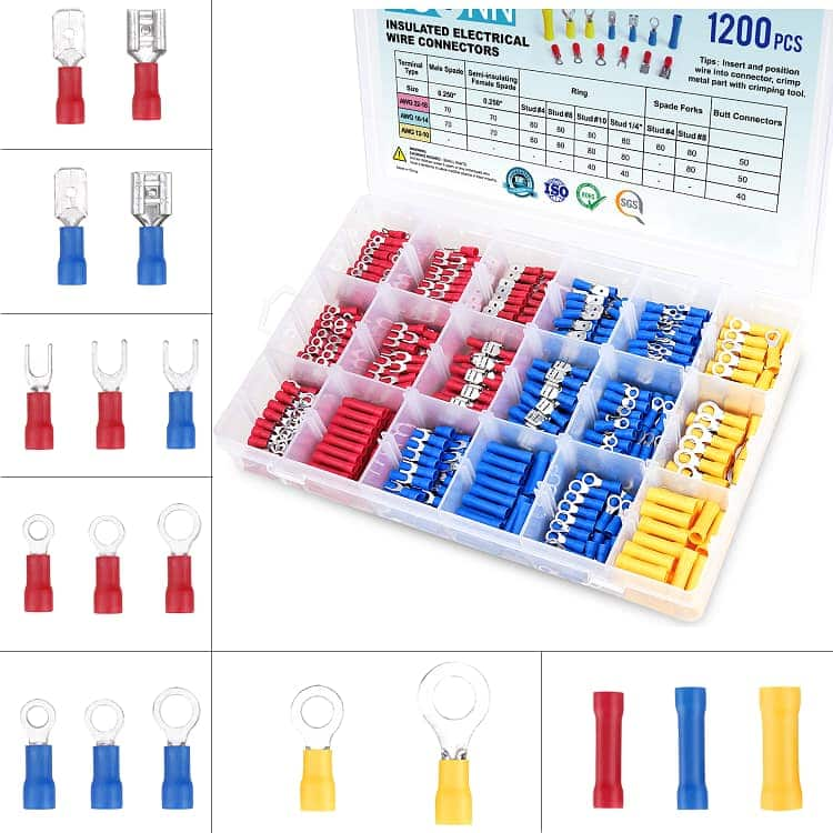 Electrical Insulated Wire Connectors Kit  (300 - 1200pcs) from $7.80 + FS w/ Prime
