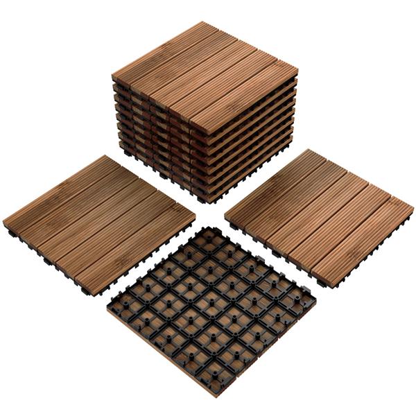 "12 x 12"" Patio Pavers Interlocking Wood Flooring Tiles, Indoor & Outdoor 11 PCS $43.85 + Free Shipping"