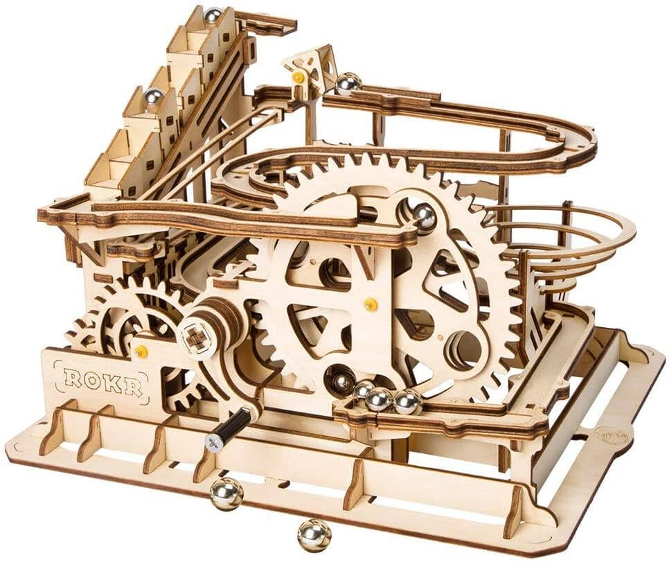 ROBOTIME 3D Wooden Puzzle DIY Waterwheel Coaster with Steel Balls - $23.64 + Free Shipping