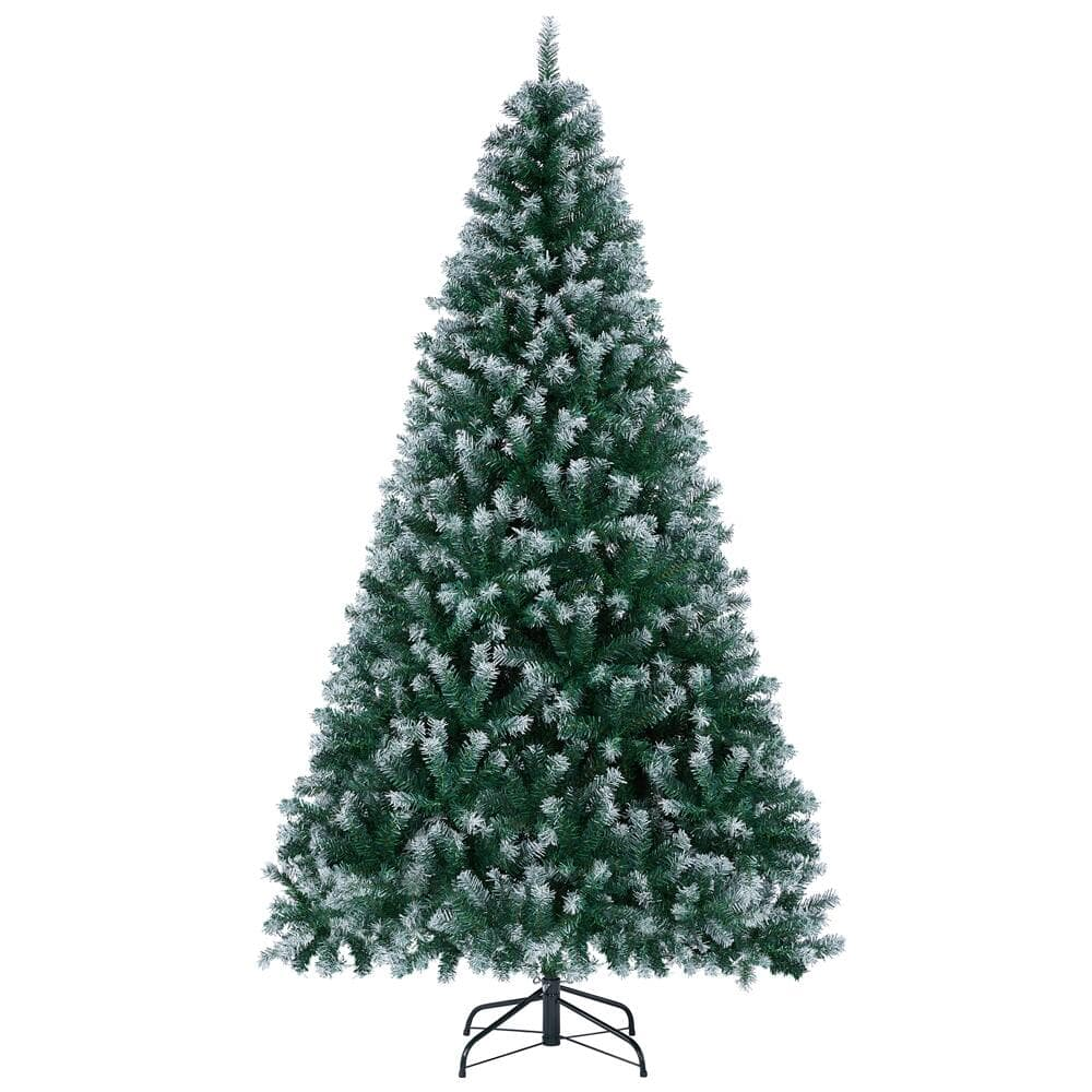 7.5 Ft Frosted Artificial Christmas Tree with Foldable Metal Stand Hinged Snow $79.99 + Free Shipping
