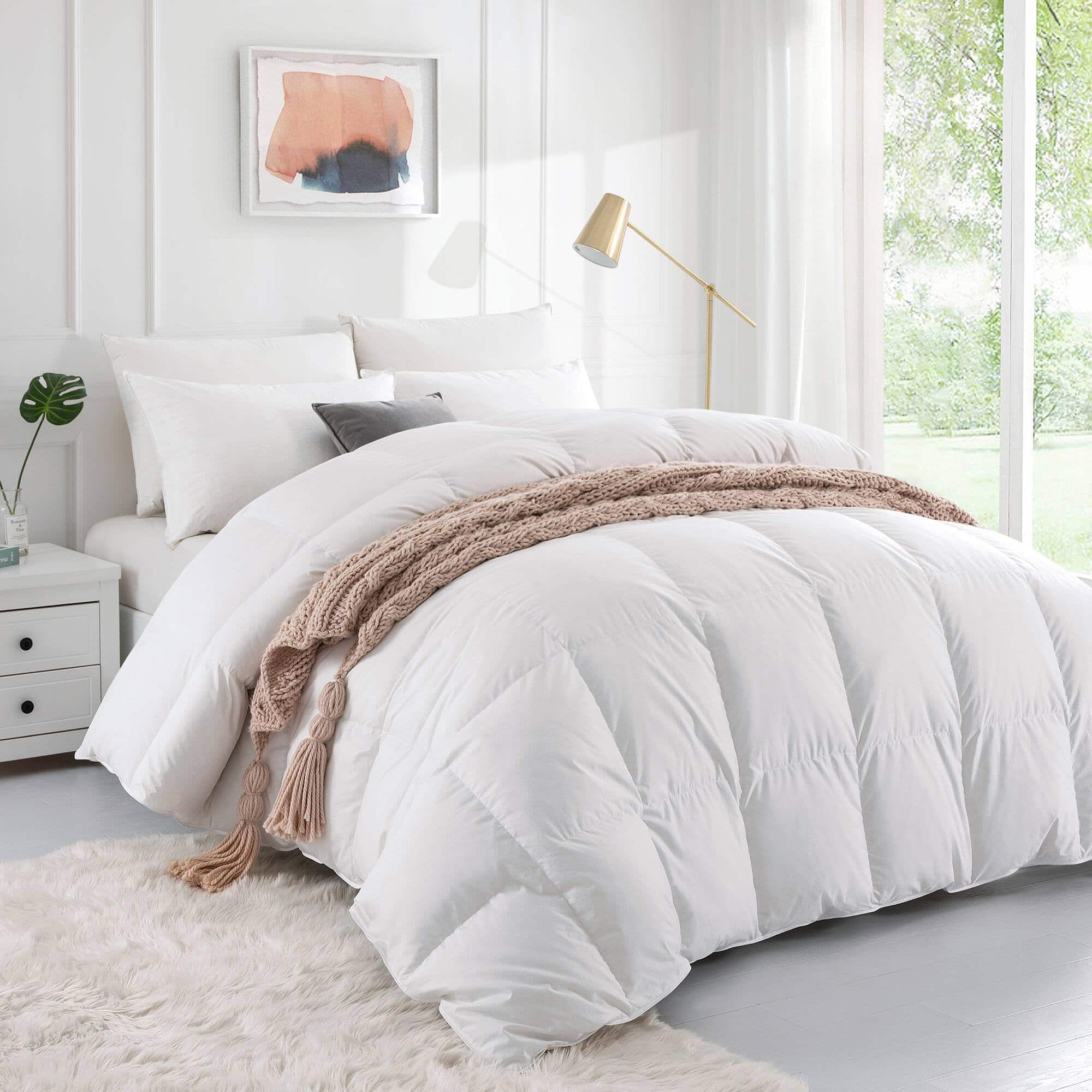 800 Fill Power Down Comforter White Goose Down Comforter 100% Cotton Cover, Twin $159.99, Full/Queen $199.99, King $231.99 + Free Shipping