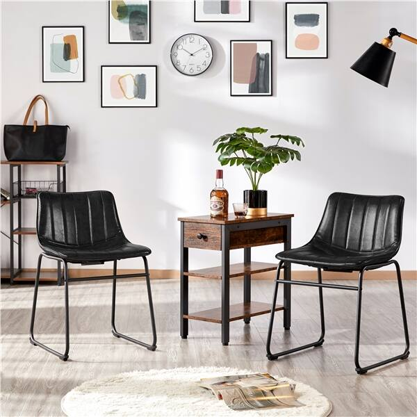 "SmileMart 18"" Upholstered Dining Chairs PU Leather Armless Dining Chairs, Set of 2, Black $73.99 + Free Shipping"
