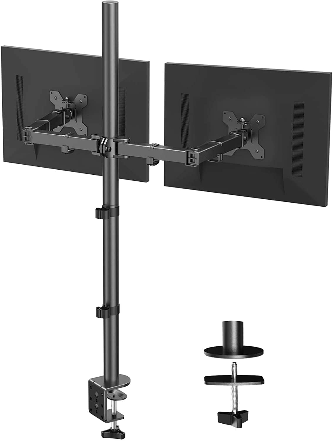 HUANUO Dual Monitor Stand with Extra Tall Pole 39.37 inch, Fully Adjustable Monitor Mount, C Clamp & Grommet Mounting Base $29.99 + FS