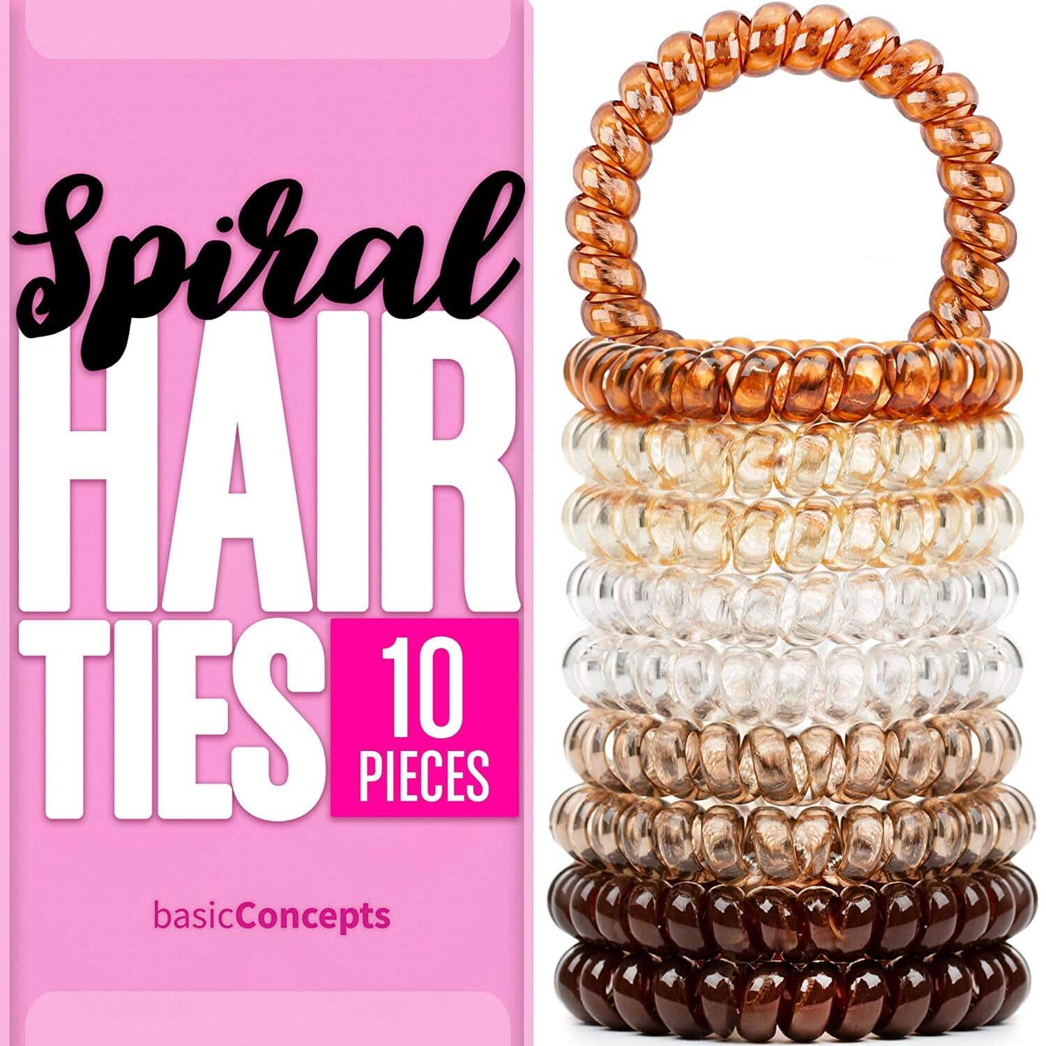 Spiral Hair Ties (10 Pieces), Coil Hair Ties for Thick Hair, Ponytail Holder Hair Ties for Women (Assorted Colors) $4.97 + FS w/ Prime or Orders $25+