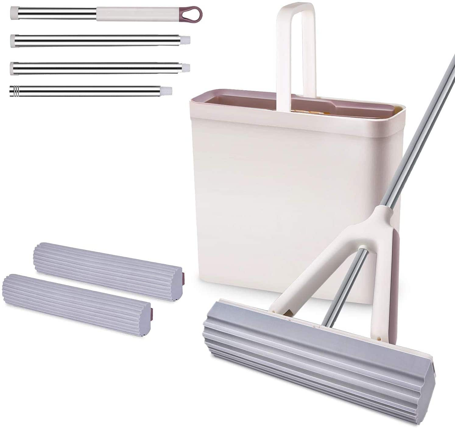 Sponge Mop and Bucket Set with 2 Pcs Self Cleaning & Super Absorbent PVA Sponge Hands - Free Mop Heads, 4 Extendable Handles for Hardwood $19.99 + FS